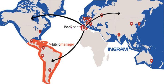 Mapa de distribución internacional con bibliomanager ingram